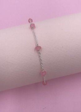Less is More Sterling Silver Pink Jade Unity Bracelet