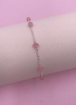 Sterling Silver Pink Jade Unity Bracelet