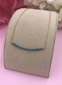 14k Gold Filled Blue and Brown Turquoise Smile Necklace