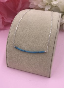 Sterling Silver Blue Turquoise Smile Necklace