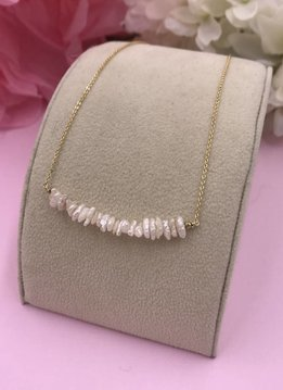 14k Gold Filled White Pearl Nugget Smile Necklace