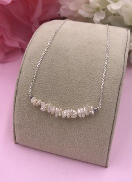 Less is More Sterling Silver White Pearl Nugget Smile Necklace
