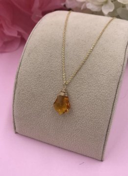 14k Gold Filled Citrine Baroque Necklace