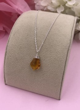 Sterling Silver Citrine Baroque Necklace