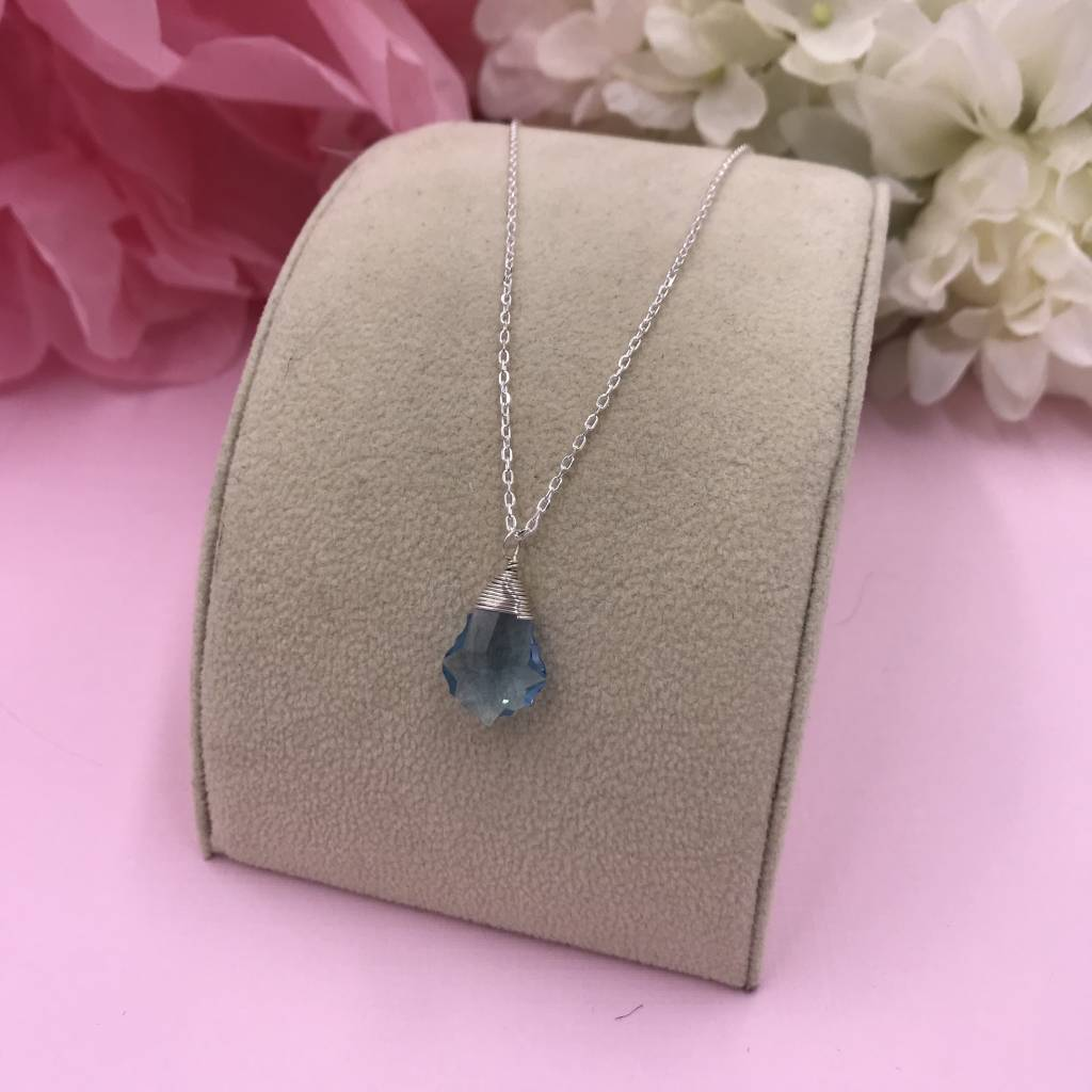 Sterling Silver Sapphire Baroque Necklace