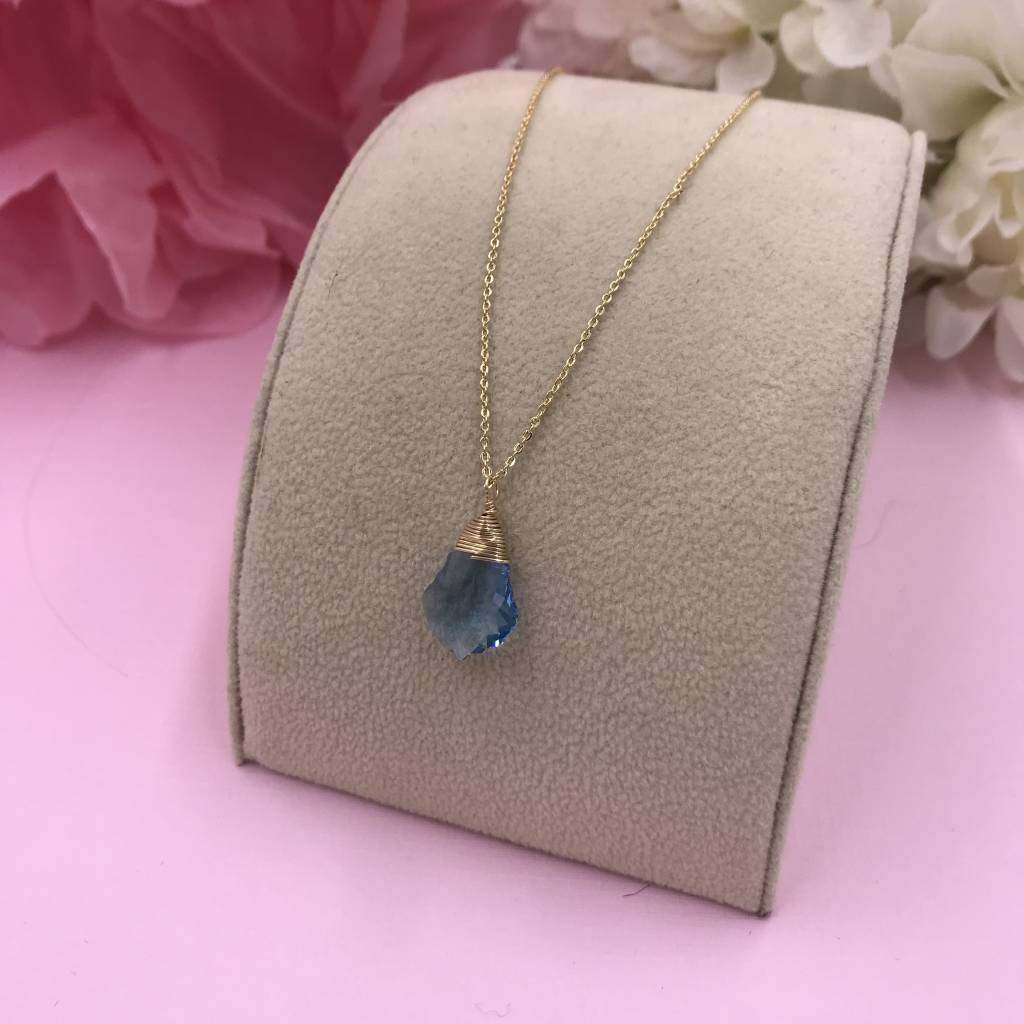 14k Gold Filled Sapphire Baroque Necklace