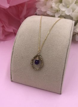 14k Gold Filled Amethyst Teardrop Necklace