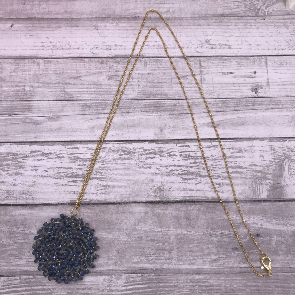 """32"""" Dark Blue Circle Beaded Wire Pendant on a Gold Chain"""