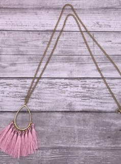 Pink Teardrop Shapped Tassel Necklace