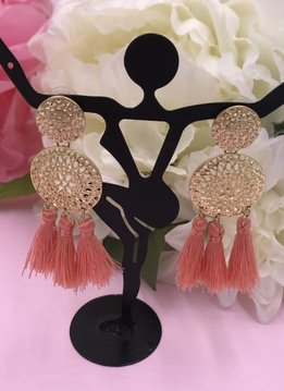 Pink Tassels on Round Metal Earrings
