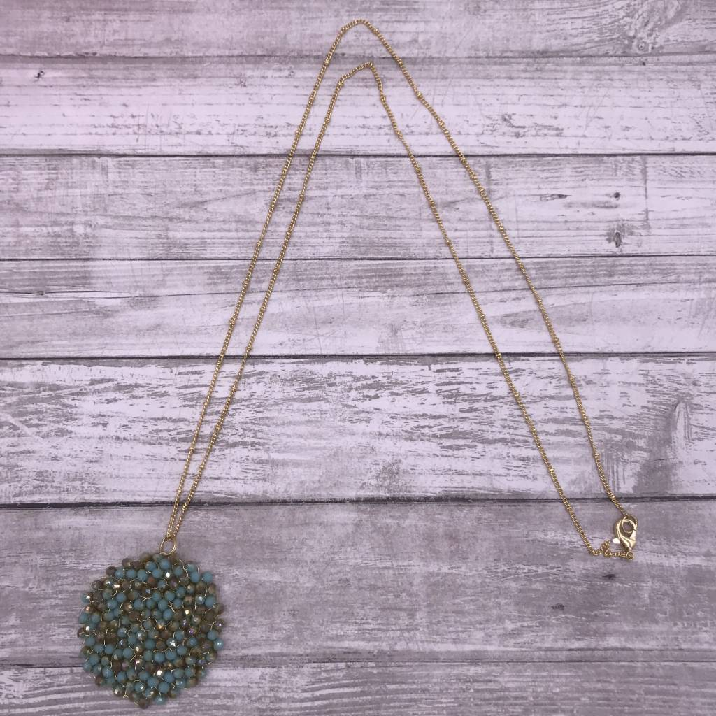 """34"""" Green Circle Beaded Wire Pendant on a Gold Chain"""