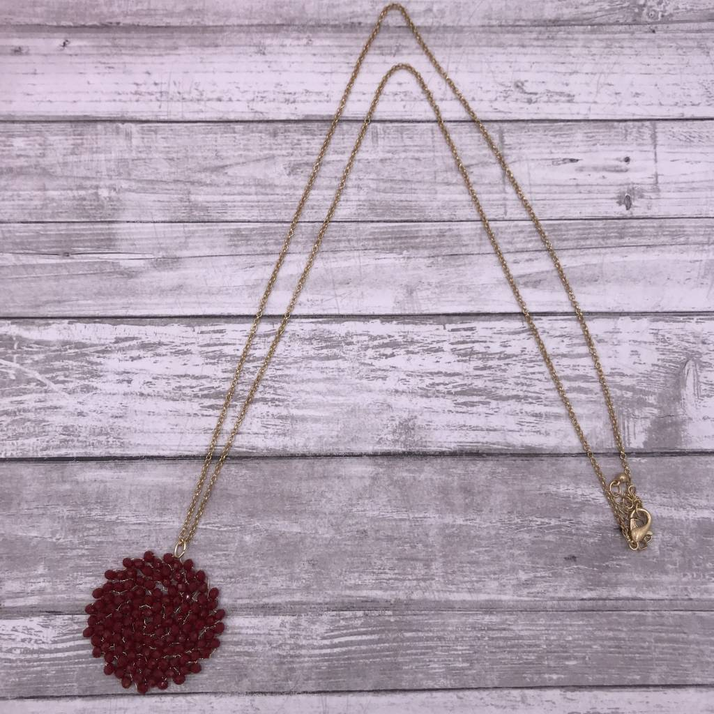 """34"""" Red Circle Beaded Wire Pendant on a Gold Chain"""