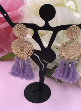 Purple Tassels on Round Metal Earrings