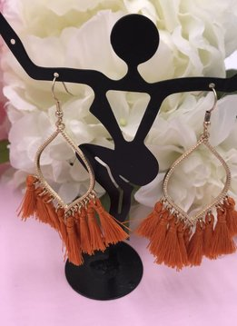 Orange Tassel Marquise Shaped Earrings