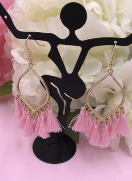 Lt Pink Tassel Marquise Shaped Earrings
