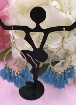 Aqua Tassel Marquise Shaped Earrings