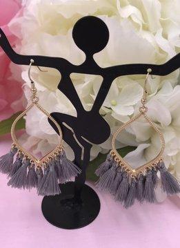 Gray Tassel Marquise Shaped Earrings