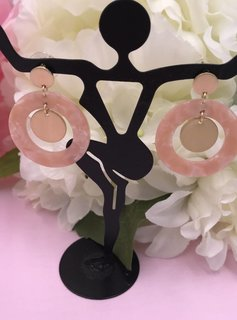 Pink Acetate Full Circle Earrings with Gold Circle Drop