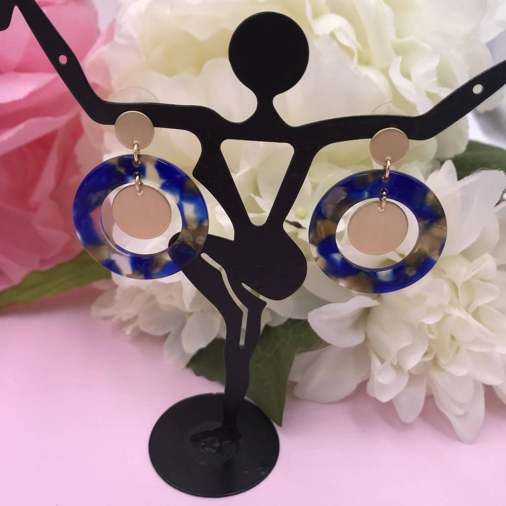 Blue Acetate Full Circle Earrings with Gold Circle Drop