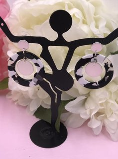 Black & White Acetate Full Circle Earrings with Silver Circle Drop