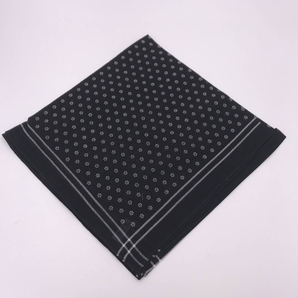Black Floral Dot Work Lightweight Bandana Square Scarf