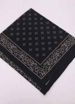 Black Vintage Western Bandana Square Scarf