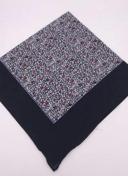 Navy Versatile Ditsy Floral Wide Border Handkerchief Scarf