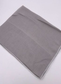 Gray Scallop Stitch Trim Bandana Square Scarf