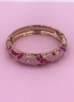 Dark and Light Pink Rose Pattern Gold Bangle