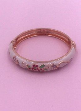 Thin White and Pink Dragonfly Rose Gold Bangle