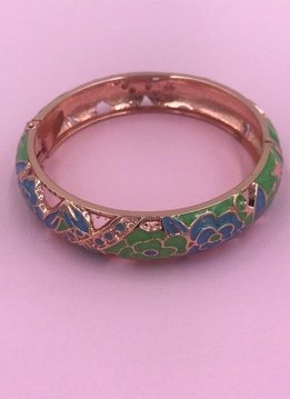 Thick Blue and Green Rose Gold Bangle