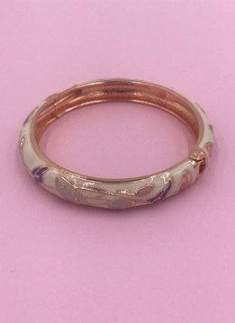 Thin White Flower Bangle on Rose Gold