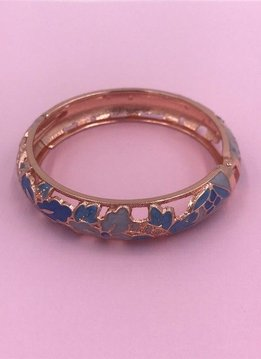 Thick Blue Flower Bangle on Rose Gold