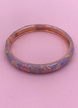 Thin Purple Flower Rose Gold Bangle