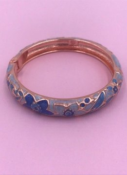 Thin Light Blue Flower Bangle on Rose Gold