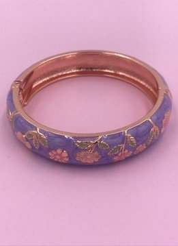 Thick Purple Flower Bangle on Rose Gold