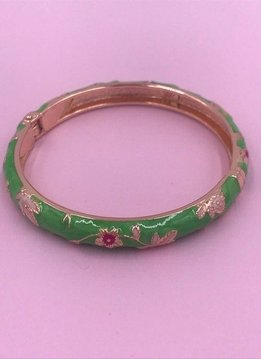 Thin Green Flower Bangle on Rose Gold