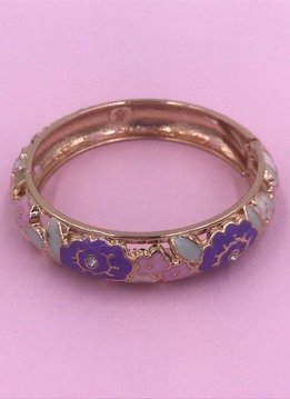 Purple, Pink, and Mint Flower Pattern on Gold Bangle