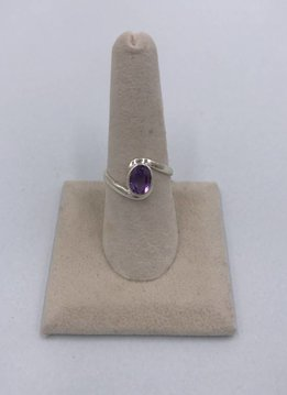Sterling Silver Oval Round Amethyst Ring Size 8