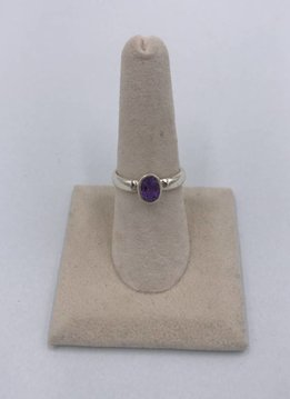 Sterling Silver Simple Round Amethyst Ring Size 8