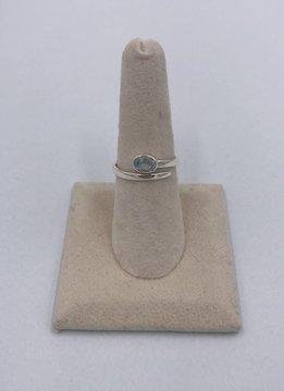 Sterling Silver Wrap Blue Topaz Ring Size 5