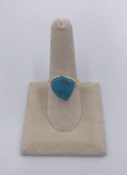 Sterling Silver Unique Turquoise Stone Ring Size 8