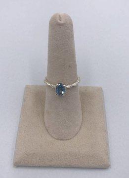 Sterling Silver Tiny Oval Blue Topaz Ring Size 7