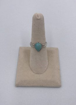 Sterling Silver Teardrop Turquoise Stone Ring Size 7