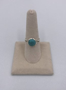 Sterling Silver Round Turquoise Stone Size 8