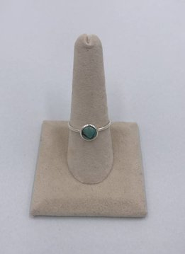 Sterling Silver Round Turquoise Stone Ring Size 8