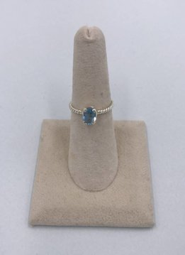Sterling Silver Round Blue Topaz Ring Size 6