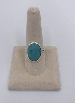 Sterling Silver Oval Turquoise Stone Ring Size 9
