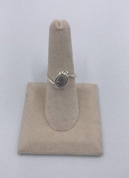 Sterling Silver Oval Round Moonstone Ring Size 7