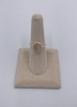Sterling Silver Oval Rose Quartz Stone Ring Size 7